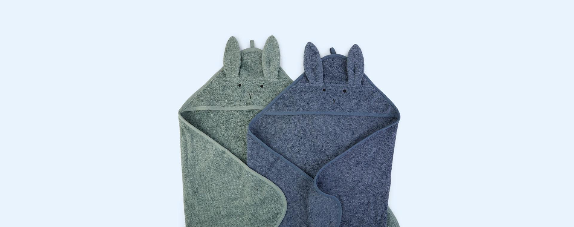 Rabbit Blue Mix Liewood Albert Hooded Towel 2-pack