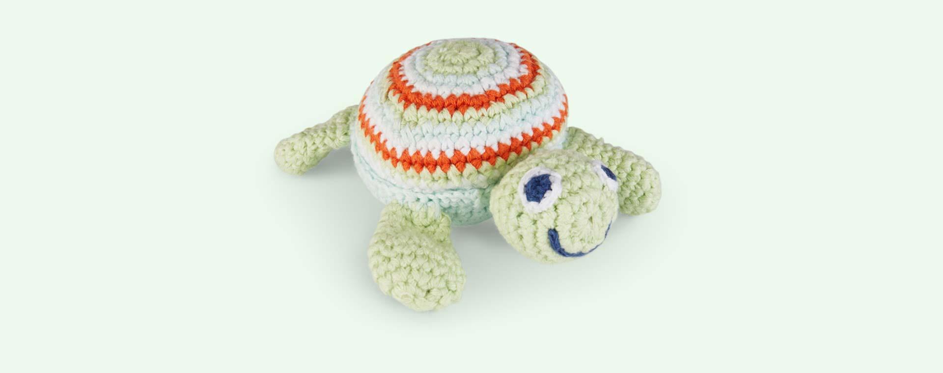 Green Pebble Turtle Crochet Rattle