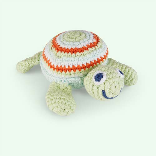 Green Pebble Turtle Crochet Rattle