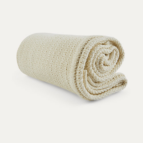 Almond Cream Hippychick Cellular Baby Blanket