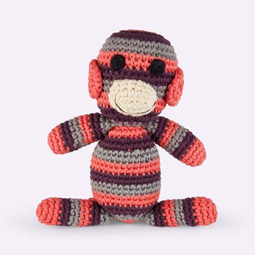 Coral Pebble Monkey Crochet Rattle
