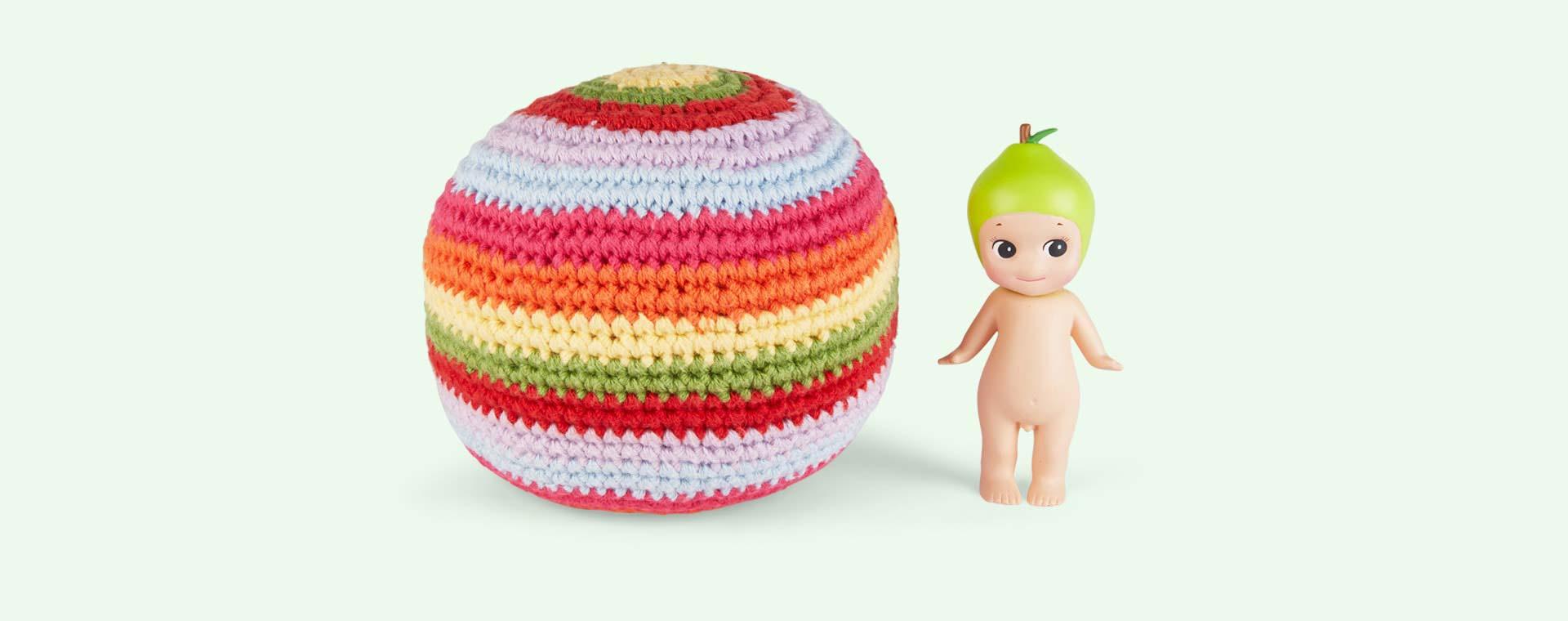 Multi Pebble Stripey Crochet Ball Rattle