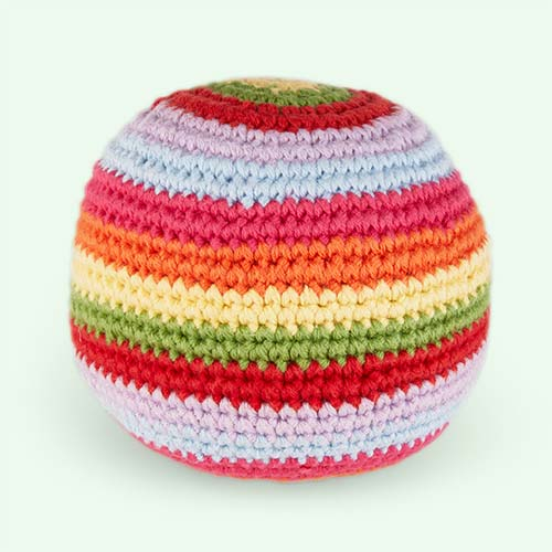 Multi Pebble Stripey Crochet Ball Rattle