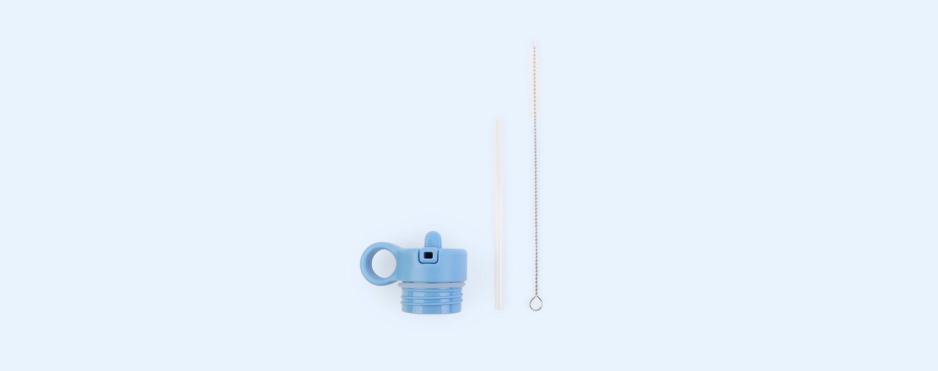 Sky Blue Liewood Anker Lid with Straw and Cleaning Brush