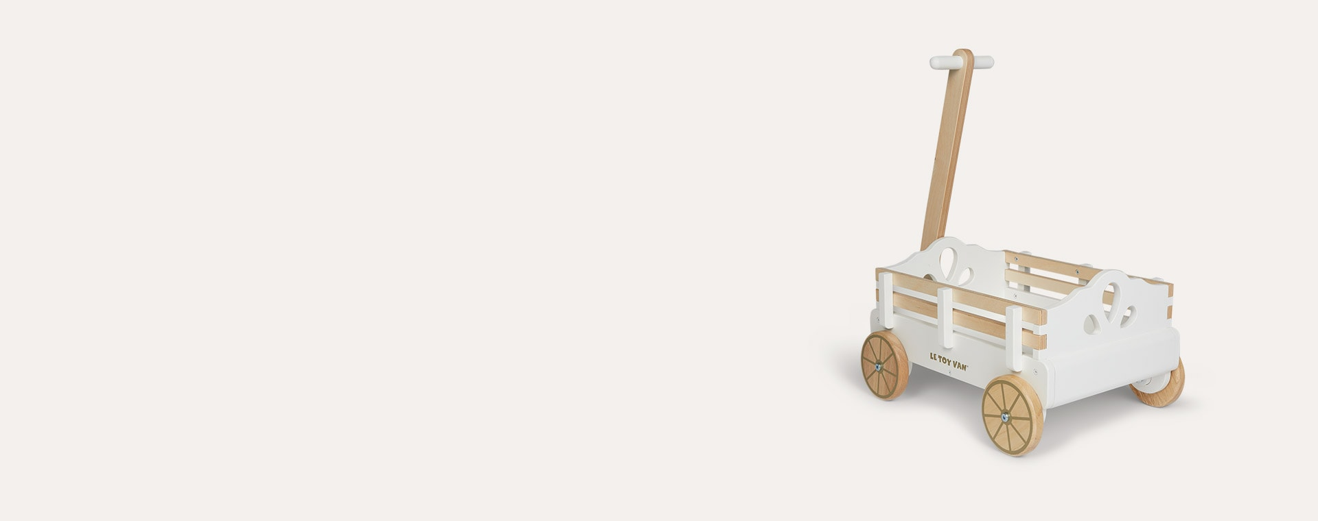 White Le Toy Van Pull Along Wagon Cart