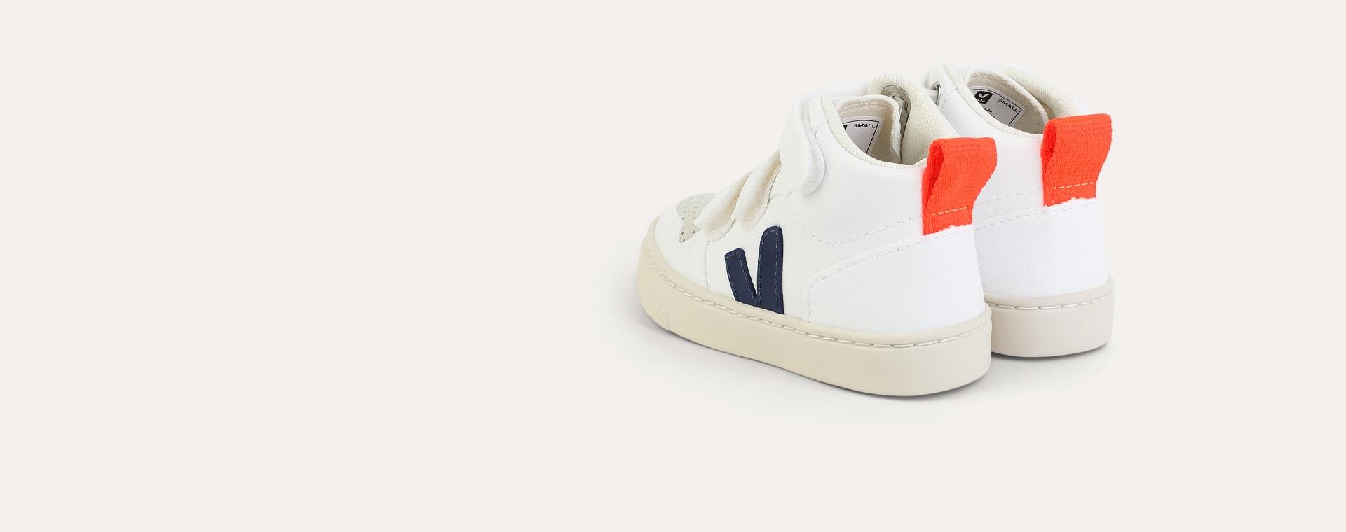 White Colbalt Orange-Fluro Veja V10 Mid Velcro