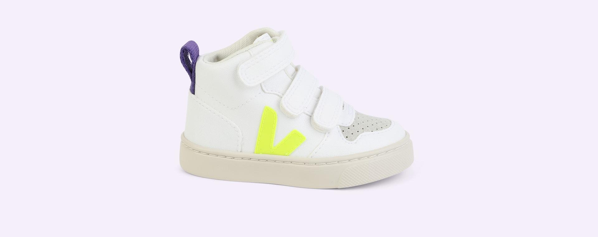 White Jaune-Fluo Purple Veja V10 Mid Velcro