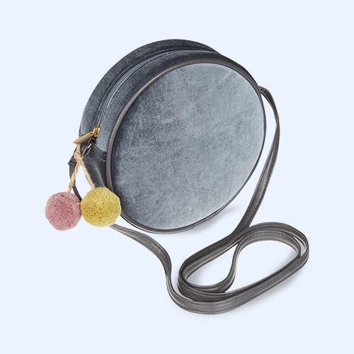 Grey Mimi & Lula Velvet Pom Pom Bag