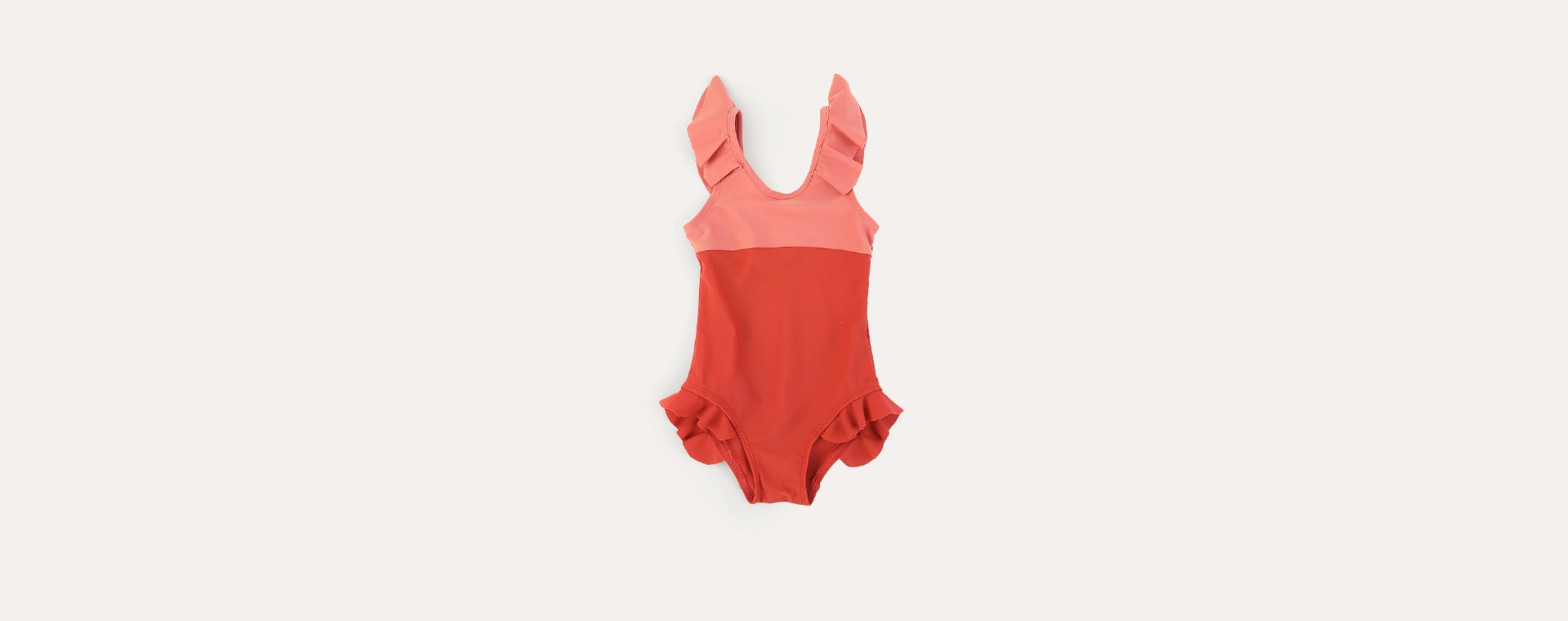 Terracotta KIDLY Label Recycled Frill Swimsuit