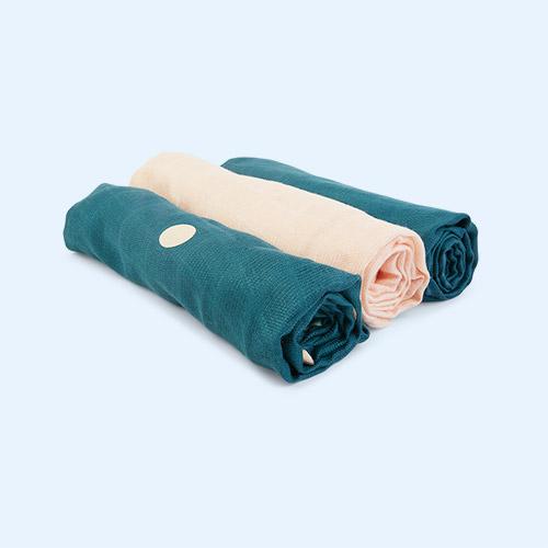 Petrol Blue KAOS 3-Pack Bamboo Muslins