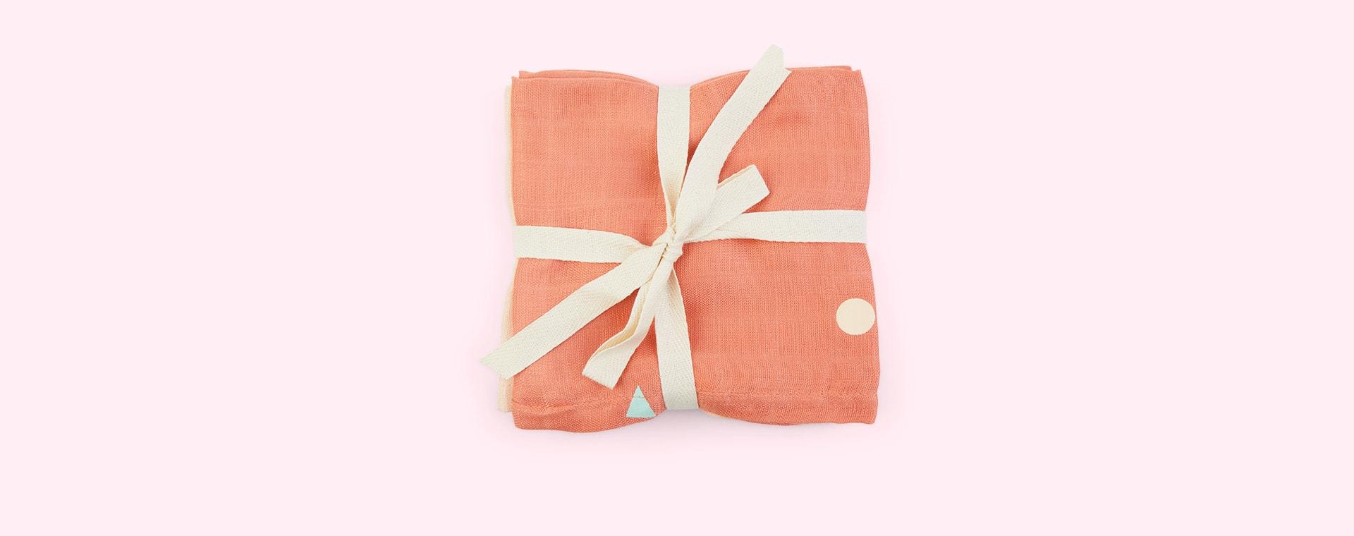 Coral pink KAOS 3-Pack Bamboo Muslins