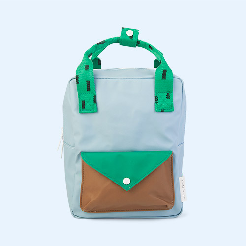 Steel Blue, Apple Green and Brassy Green Sticky Lemon Small Backpack With Envelope Pocket
