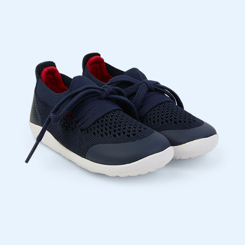 Navy + Red Bobux I Walk Play Knit Trainer