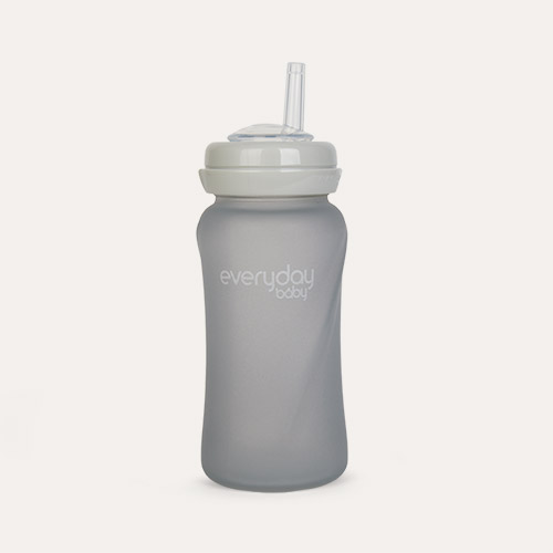 Grey Everyday Baby Glass Straw Bottle