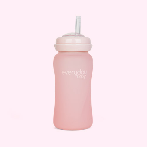 Rose Pink Everyday Baby Glass Straw Bottle
