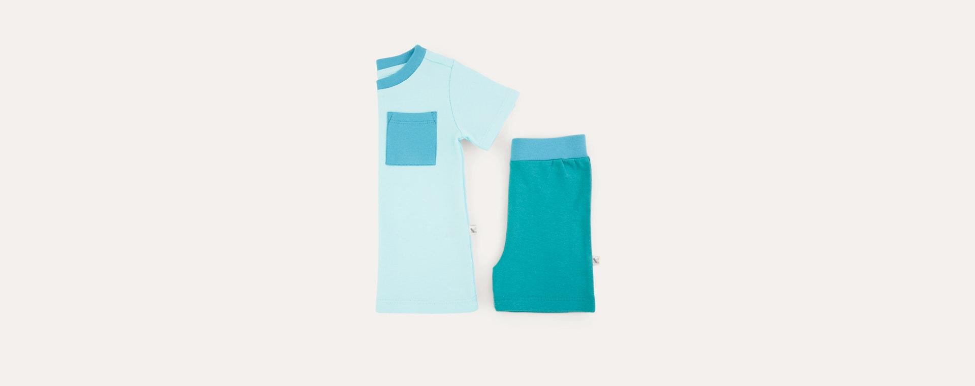 Aqua Tonal KIDLY Label Organic Short Sleeve Pyjamas
