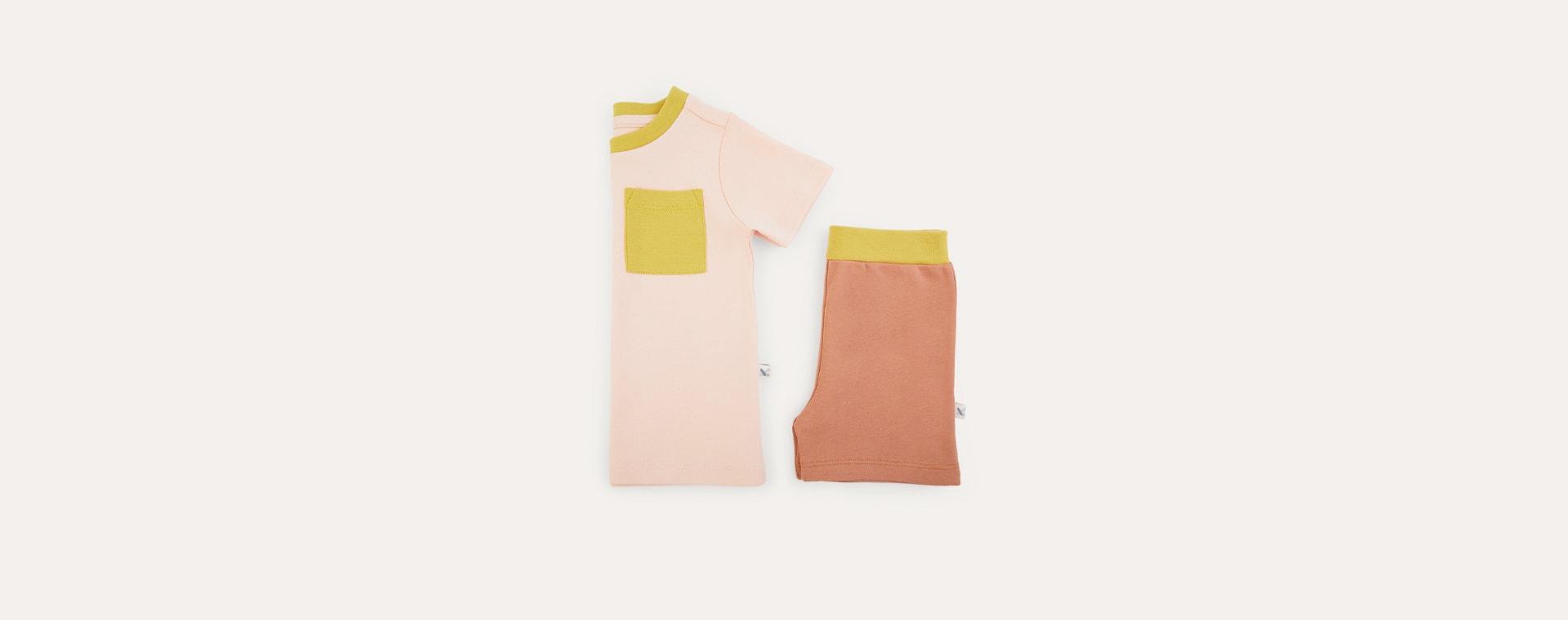 Coral Tonal KIDLY Label Organic Short Sleeve Pyjamas