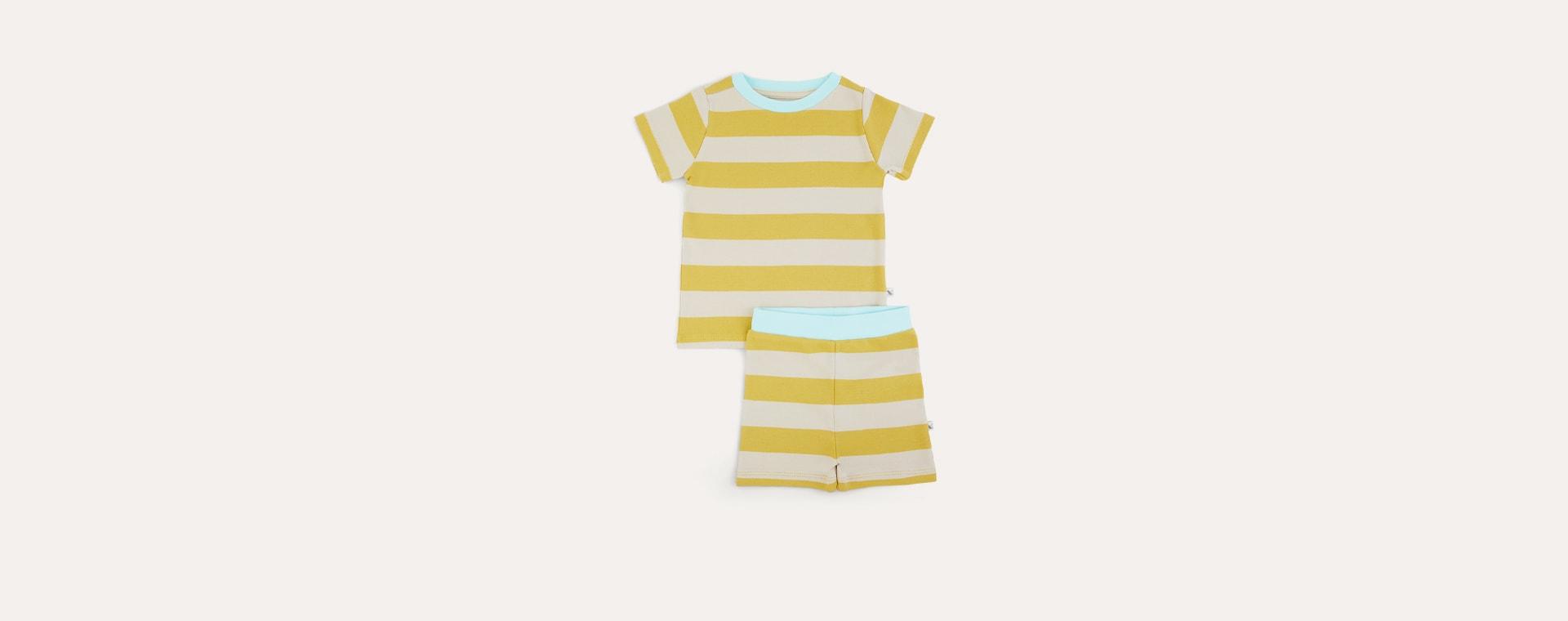 Mustard Stripe KIDLY Label Organic Short Sleeve Pyjamas