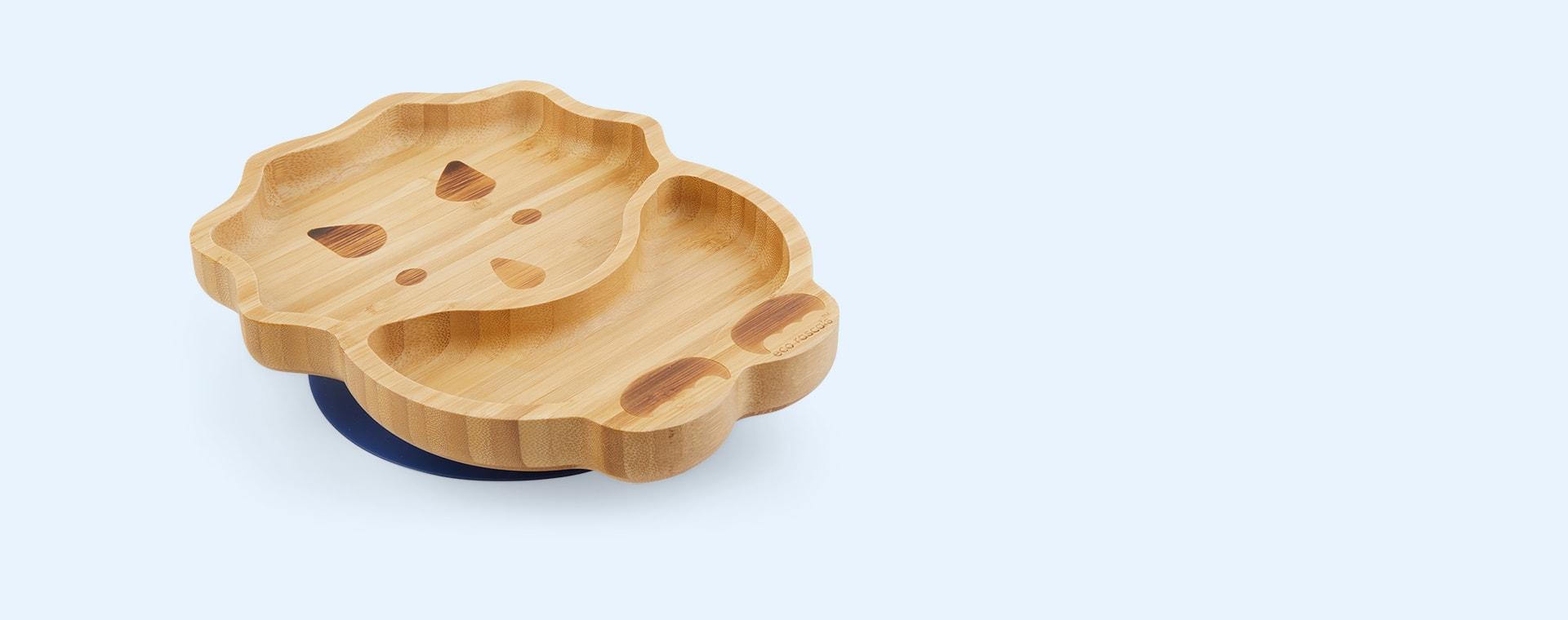 Navy eco rascals Bamboo Suction Dinosaur Plate