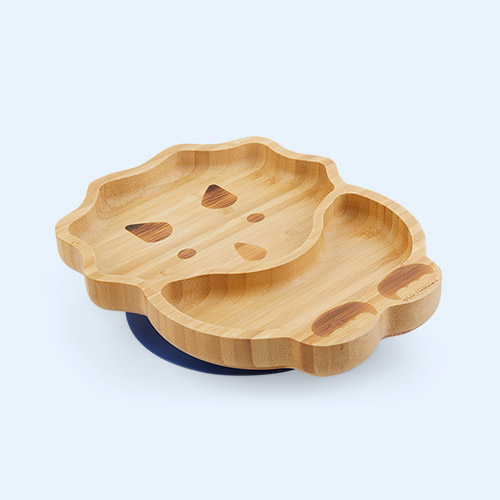Navy eco rascals Bamboo Suction Dinosaur Plate