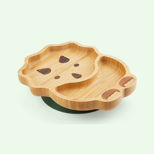 Green eco rascals Bamboo Suction Dinosaur Plate