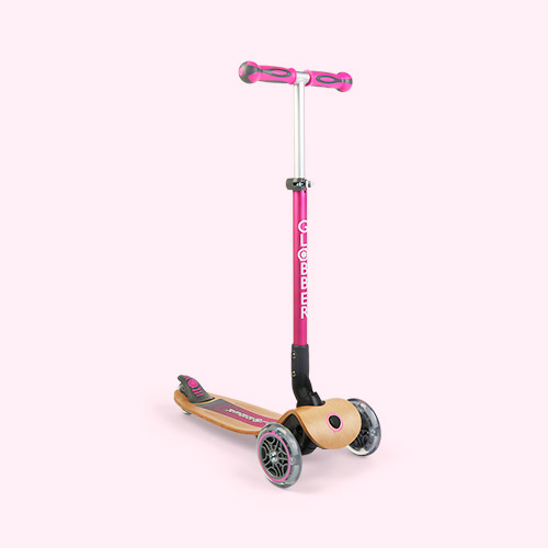 Deep Pink Globber Primo Foldable Wood Scooter