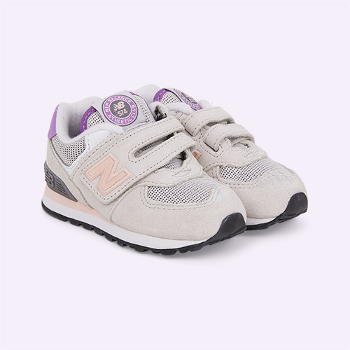 Grey/Pink New Balance 574 Trainer