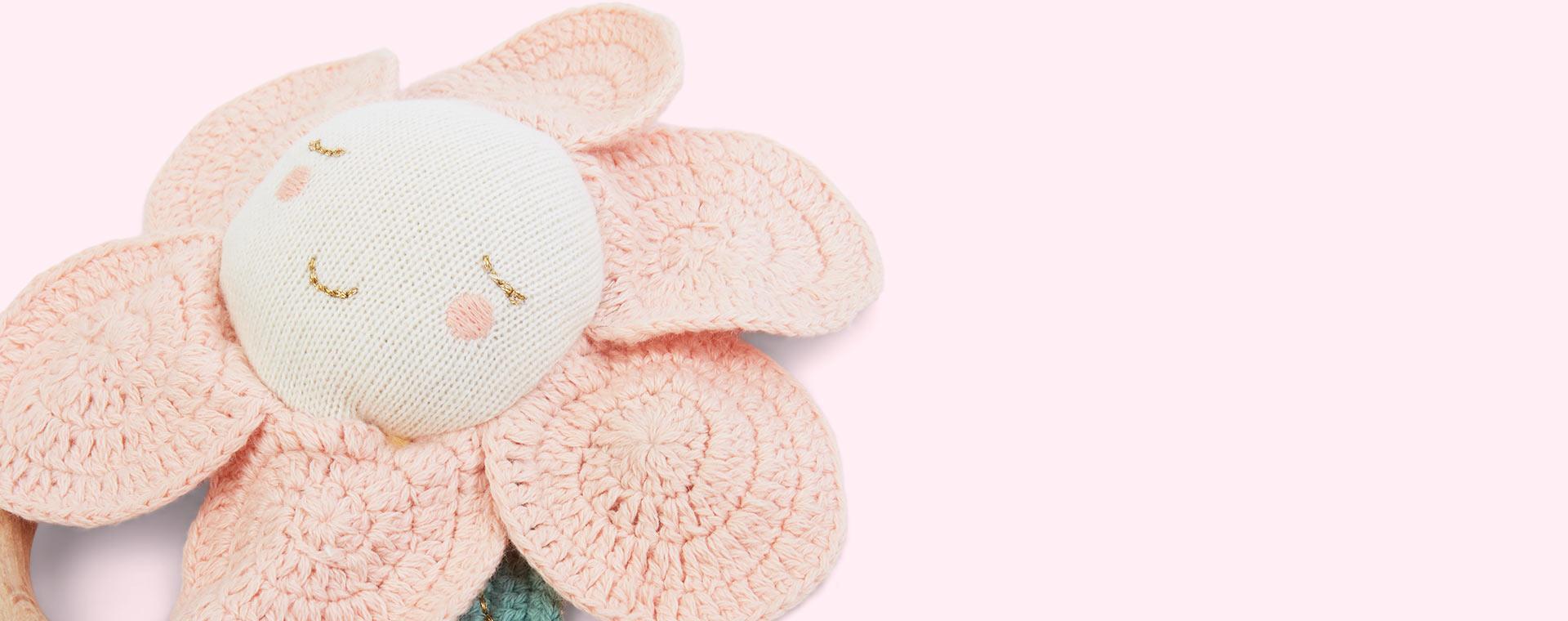 Pink Meri Meri Peach Daisy Rattle