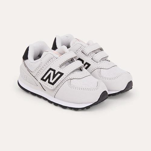 Grey/White/Pink New Balance 574 Pink Metallic Trainer