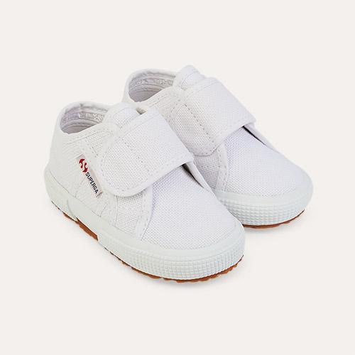 White Superga Bstrap Baby Trainer