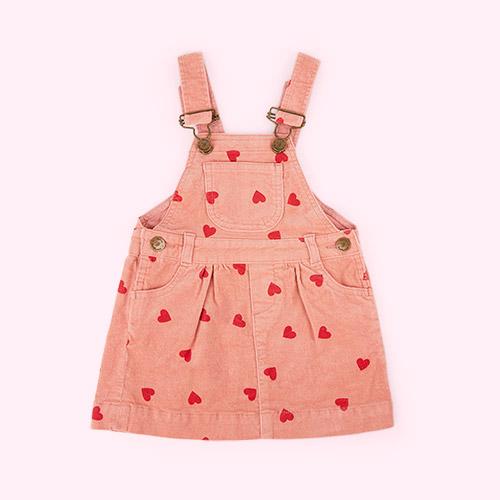 Heart Print Dotty Dungarees Corduroy Printed Dress