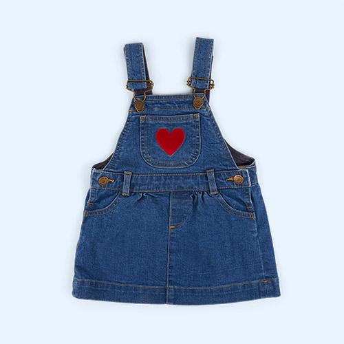 Heart Embroidery Dotty Dungarees Denim Dress