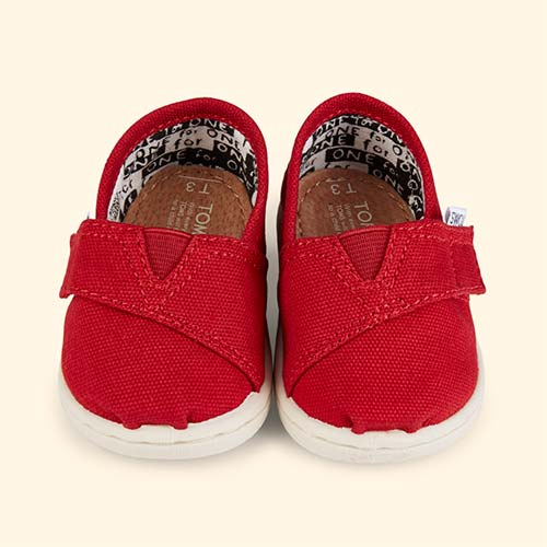 Red TOMS Classic Canvas Plimsolls
