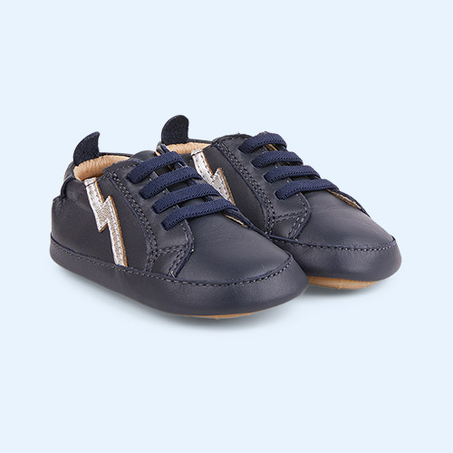 Navy / Silver old soles Bolty Baby Sneakers