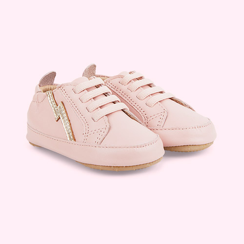 Powder Pink / Gold old soles Bolty Baby Sneakers