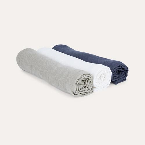 Olive/Milky/Navy Lassig 3-pack Muslin & Burp Blanket