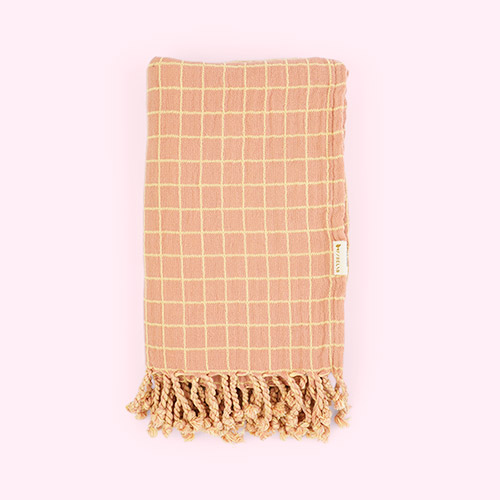 Grid Old Rose Fabelab Throw Blanket
