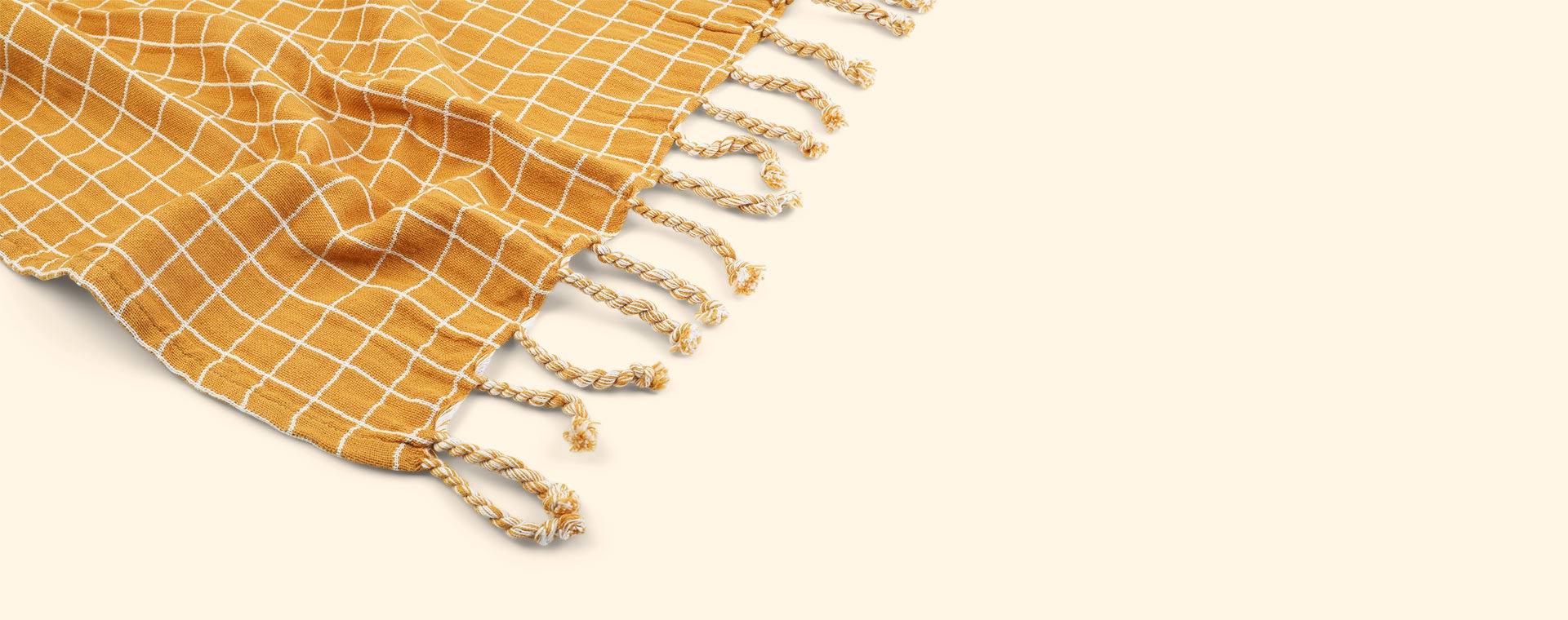 Grid Ochre Fabelab Throw Blanket