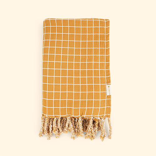 Grid Ochre Fabelab Throw Blanket
