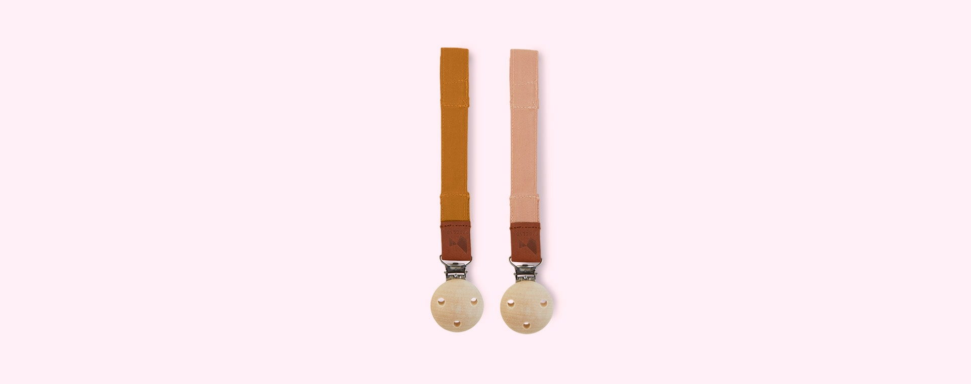 Ochre/Old Rose Fabelab 2-Pack Pacifier Strap