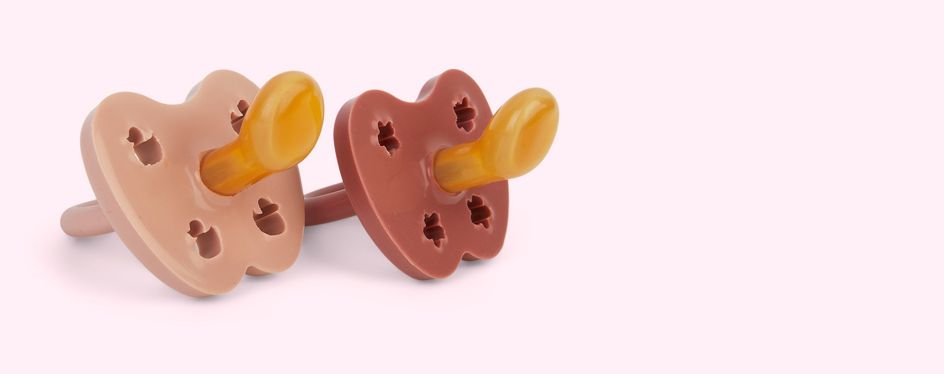 Rosewood & Baby Blush Hevea 2-pack Colourful Natural Rubber Orthodontic Pacifier