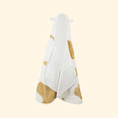 Cream Cuddledry Cuddlemoo Hooded Bath Towel