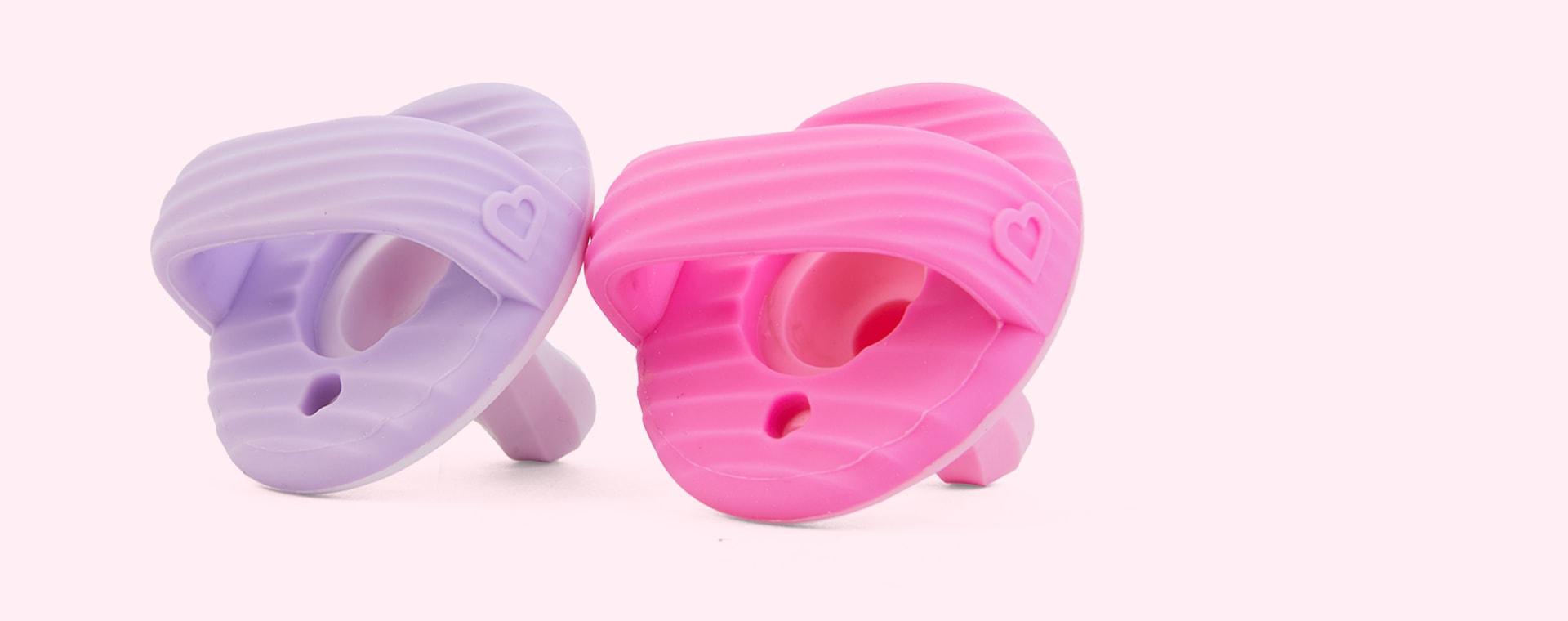 Pink/Purple Munchkin 2-Pack Sili-Soothe & Teethe Pacifiers & Teethers