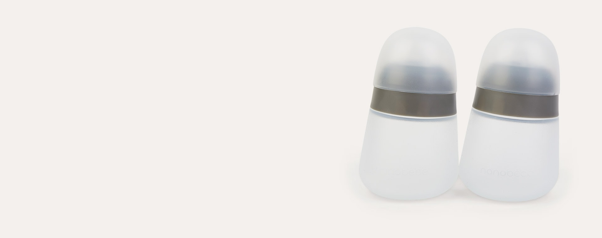 Grey nanobébé 2-Pack Flexy Silicone Baby Bottles