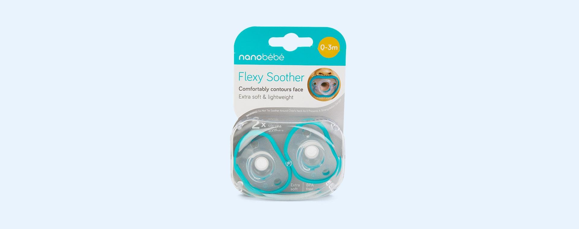 Teal nanobébé 2-Pack Flexy Soothers