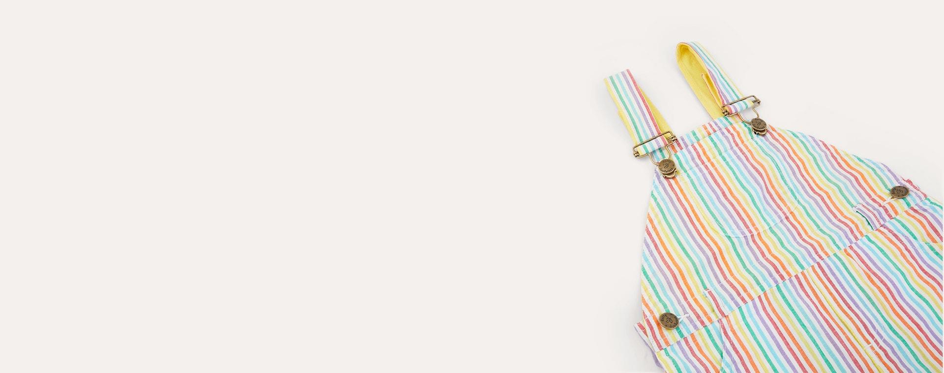 Multi Dotty Dungarees Rainbow Seersucker Shorts
