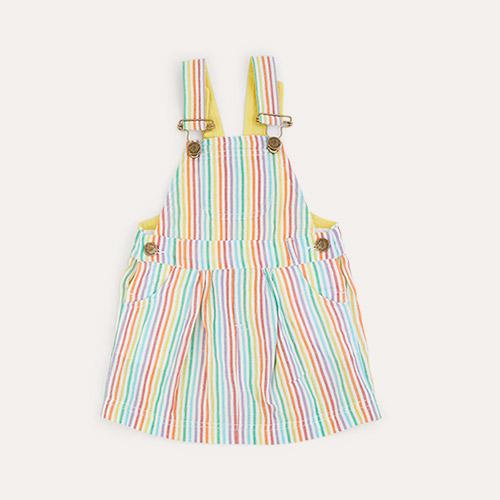Multi Dotty Dungarees Rainbow Seersucker Dress