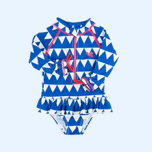 Blue Triangles Muddy Puddles UV Protective Surf Swimsuit