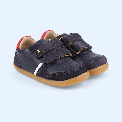 Navy + Red Bobux Step Up Riley Retro Trainer