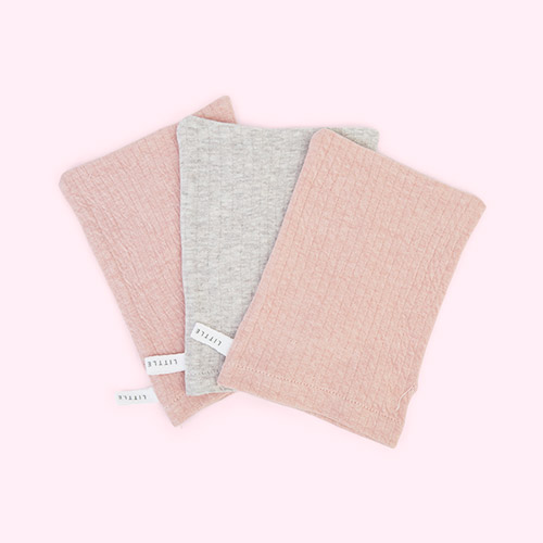 Pure Pink / Grey Little Dutch 3-pack Washcloths